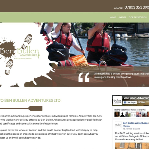 Ben Bullen Adventures website screenshot